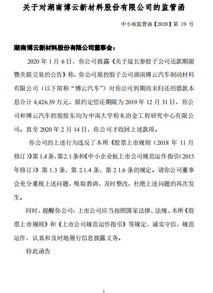 博云新材到期尚未归还的借款本息合计4,426.39万元收深交所监管函